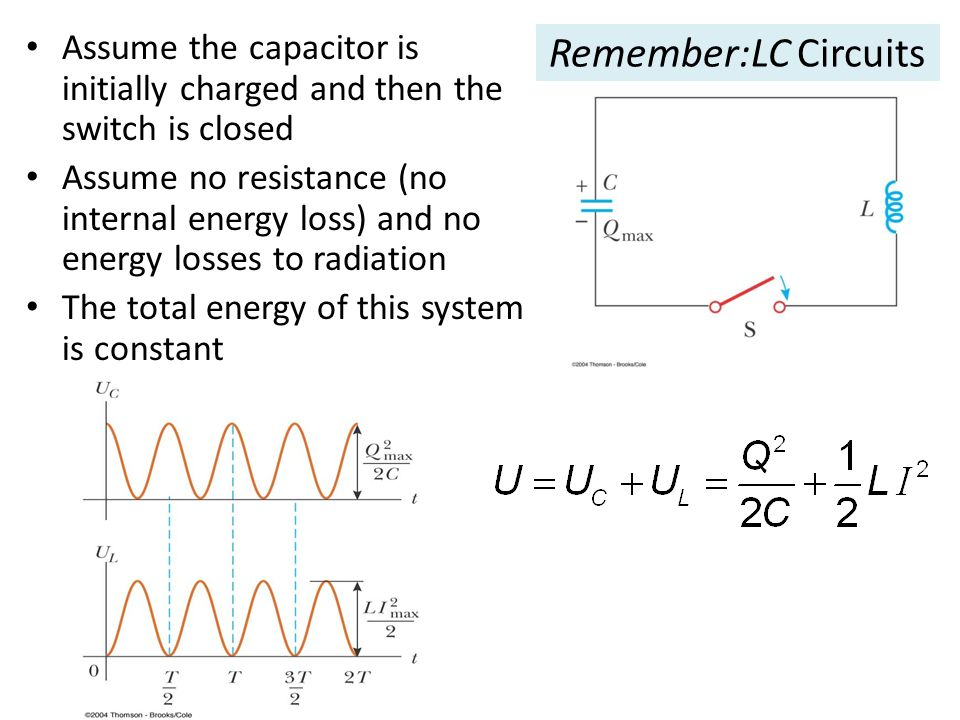 Remember:LC Circuits Assume the capacitor is initially charged and then the switch is closed Assume no resistance (no internal energy loss) and no ene