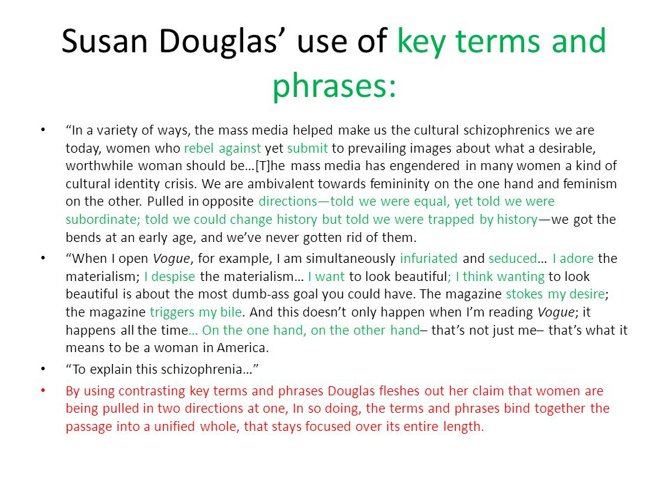 """Susan Douglas' use of key terms and phrases: """"In a variety of ways, the mass media helped make us the cultural schizophrenics we are today, women who"""