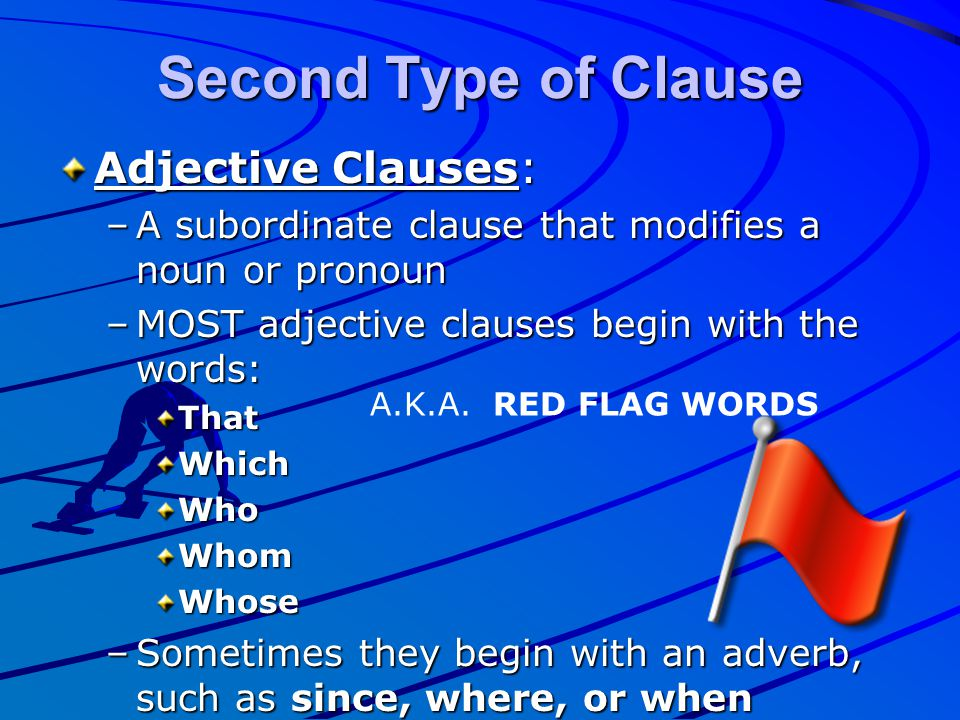 Second Type of Clause Adjective Clauses: –A subordinate clause that modifies a noun or pronoun –MOST adjective clauses begin with the words: ThatWhich