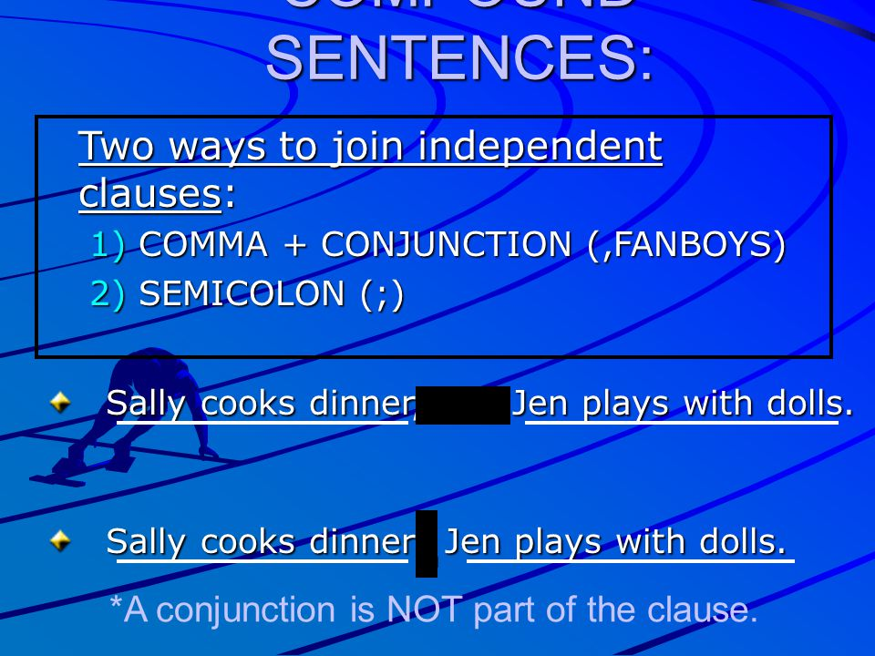 COMPOUND SENTENCES: Two ways to join independent clauses: 1) COMMA + CONJUNCTION (,FANBOYS) 2) SEMICOLON (;) Sally cooks dinner, and Jen plays with do