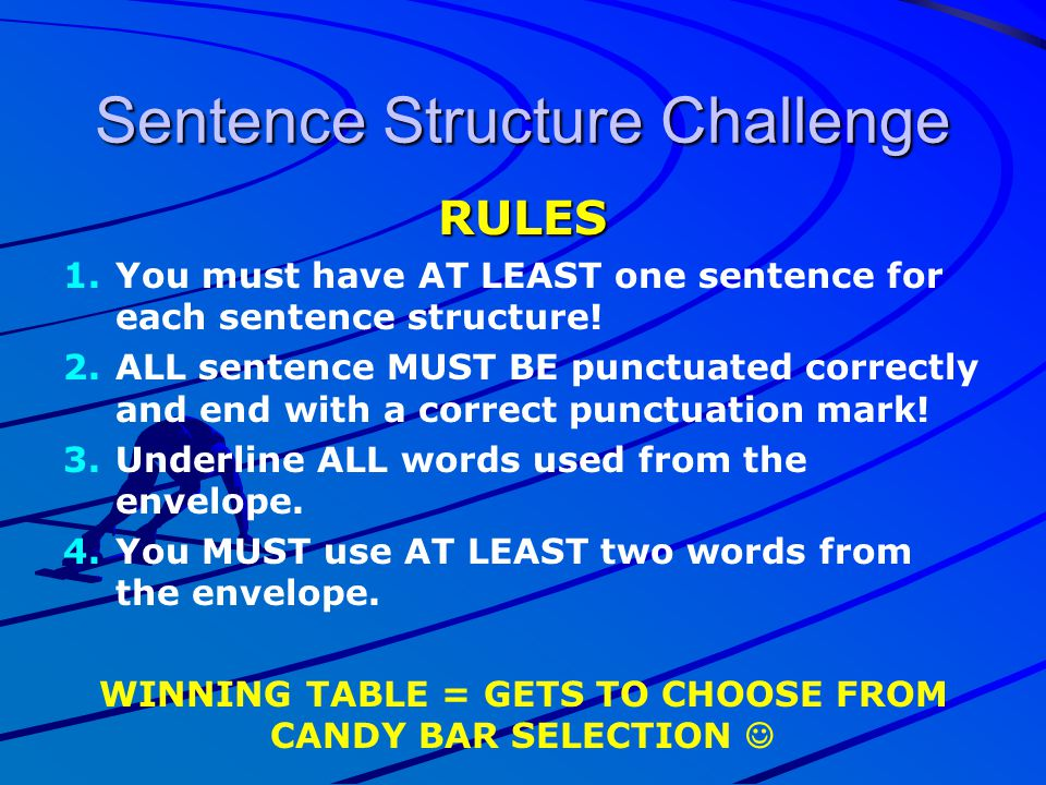 Sentence Structure Challenge RULES 1. 1.You must have AT LEAST one sentence for each sentence structure! 2. 2.ALL sentence MUST BE punctuated correctl