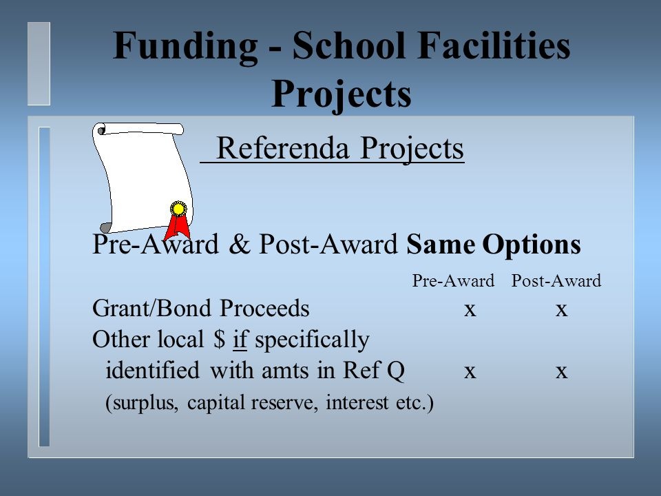 Funding - School Facilities Projects Referenda Projects Pre-Award & Post-Award Same Options Pre-Award Post-Award Grant/Bond Proceedsx x Other local $ if specifically identified with amts in Ref Qx x (surplus, capital reserve, interest etc.)