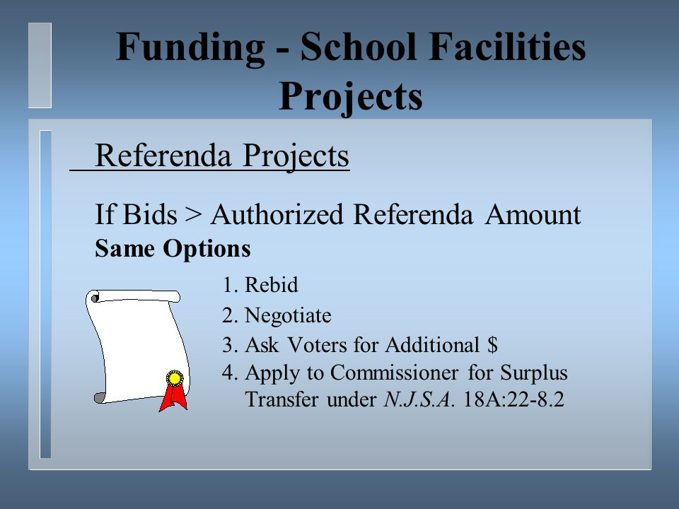 Funding - School Facilities Projects Referenda Projects If Bids > Authorized Referenda Amount Same Options 1.