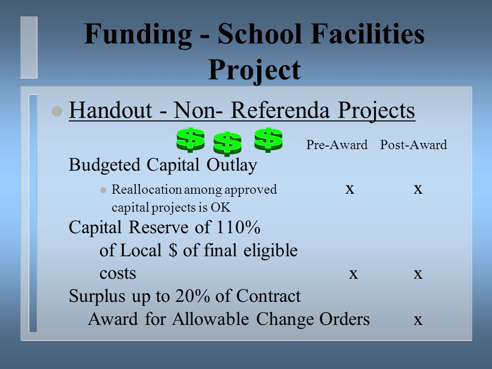 Funding - School Facilities Project l Handout - Non- Referenda Projects Pre-Award Post-Award Budgeted Capital Outlay l Reallocation among approved x x capital projects is OK Capital Reserve of 110% of Local $ of final eligible costs x x Surplus up to 20% of Contract Award for Allowable Change Orders x