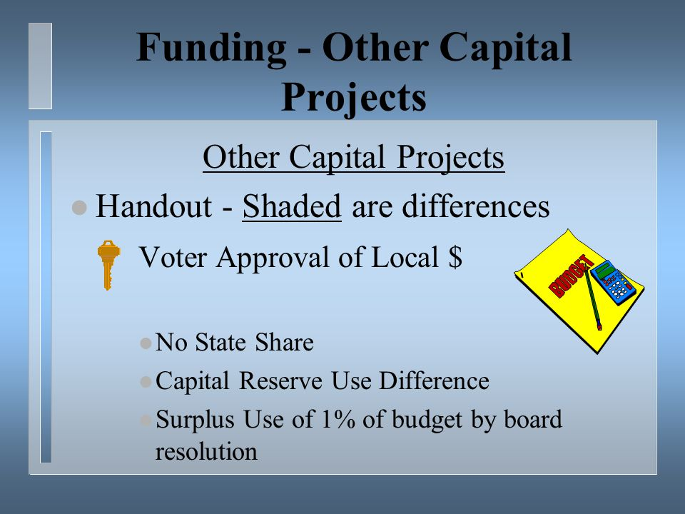 Funding - Other Capital Projects Other Capital Projects l Handout - Shaded are differences Voter Approval of Local $ l No State Share l Capital Reserve Use Difference l Surplus Use of 1% of budget by board resolution