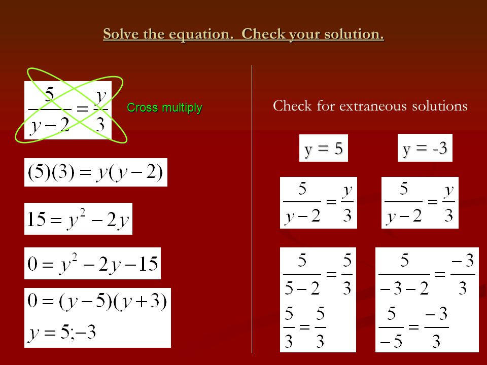 Cross multiply Solve the equation. Check your solution. Check for extraneous solutions y = 5 y = -3