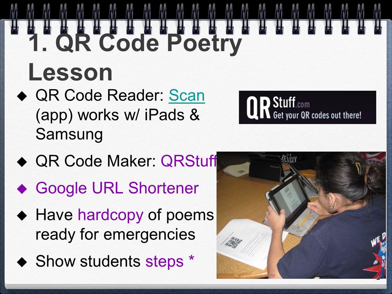 6 1. QR Code Poetry Lesson  QR Code Reader: Scan (app) works w/ iPads & SamsungScan  QR Code Maker: QRStuff  Google URL Shortener  Have hardcopy o