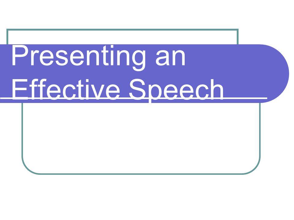Presenting an Effective Speech