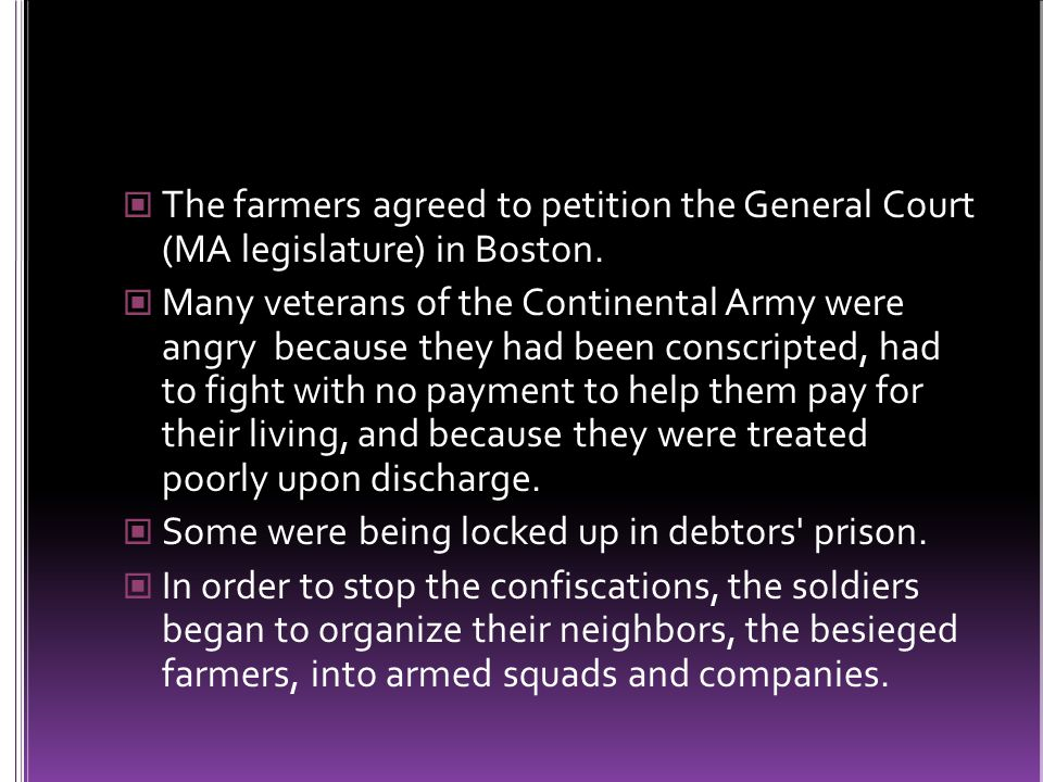 The farmers agreed to petition the General Court (MA legislature) in Boston.
