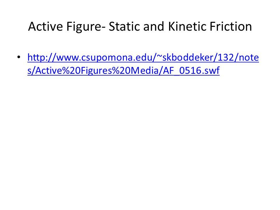Active Figure- Static and Kinetic Friction http://www.csupomona.edu/~skboddeker/132/note s/Active%20Figures%20Media/AF_0516.swf http://www.csupomona.edu/~skboddeker/132/note s/Active%20Figures%20Media/AF_0516.swf