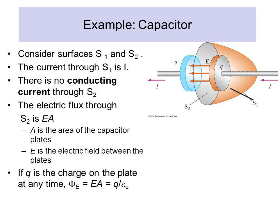 Example: Capacitor Consider surfaces S 1 and S 2. The current through S 1 is I. There is no conducting current through S 2 The electric flux through S