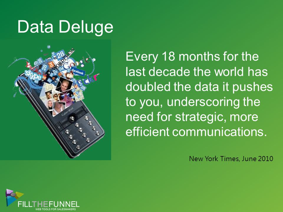 Data Deluge Every 18 months for the last decade the world has doubled the data it pushes to you, underscoring the need for strategic, more efficient communications.