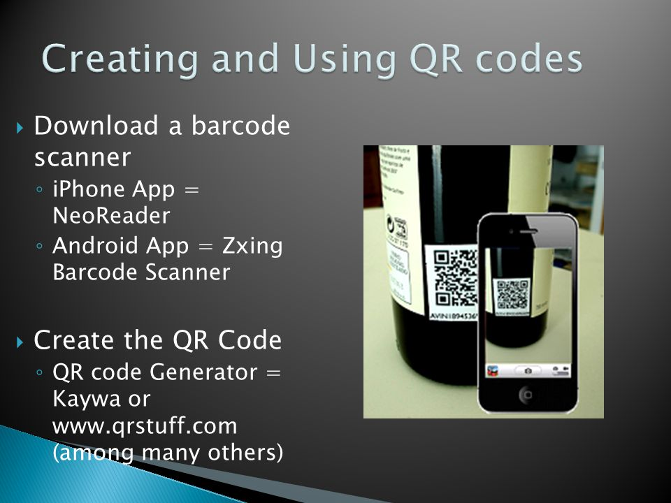  QR codes can be used to give homework/answers ◦ Place homework or answers on personal Wiki or Blog ◦ Link QR code to the Wiki or Blog  Link to discussion board for questions  Saves on Paper and Time
