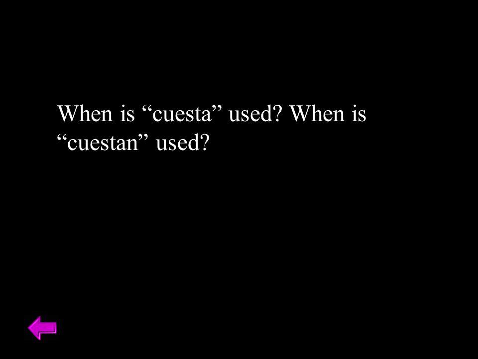 When is cuesta used When is cuestan used