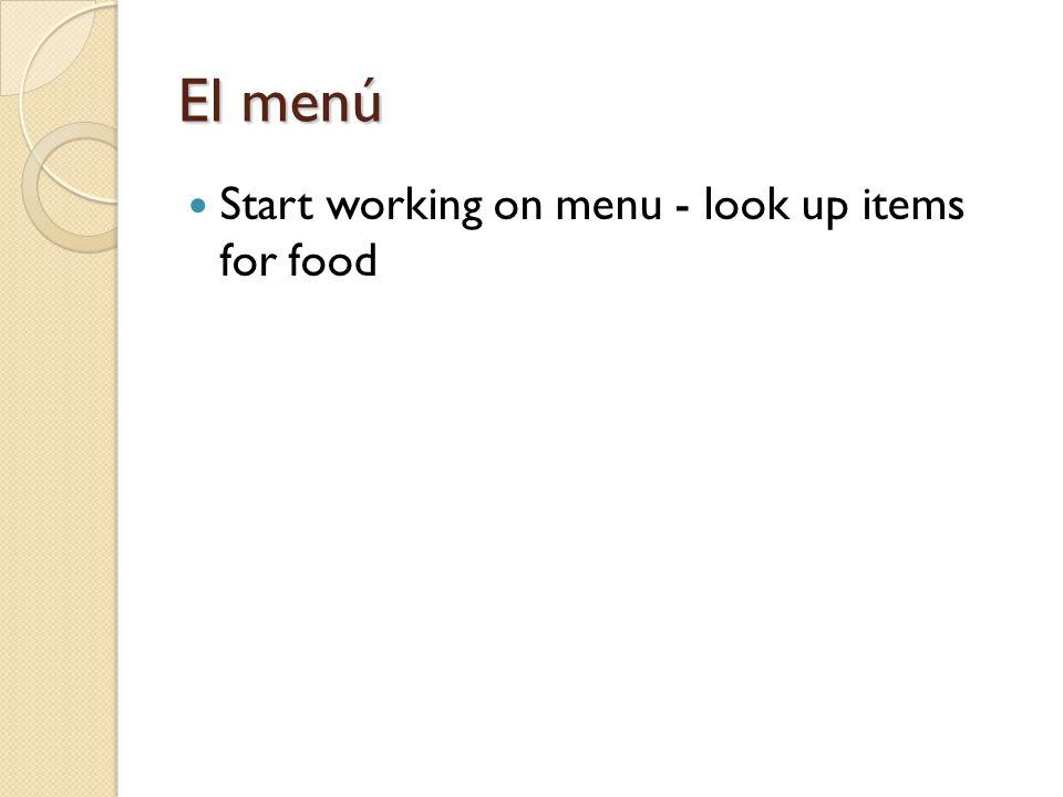 El menú Start working on menu - look up items for food