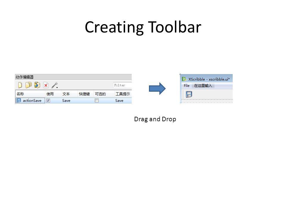 Creating Toolbar Drag and Drop