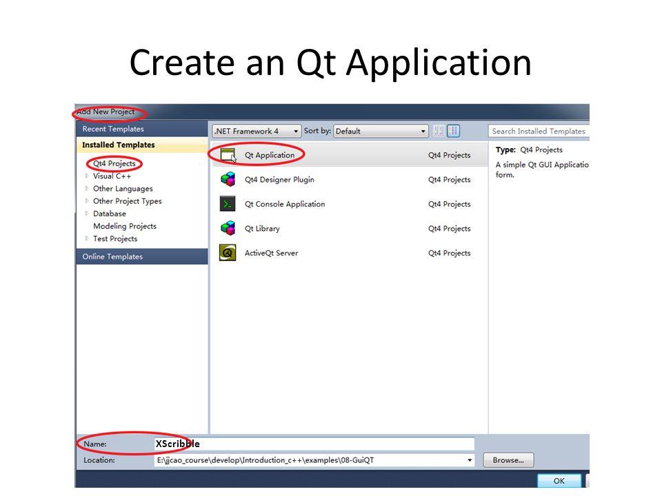 Create an Qt Application XScribble