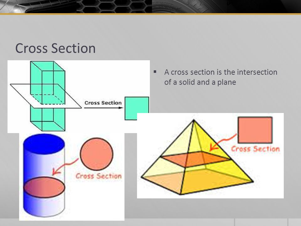 Cross Section  A cross section is the intersection of a solid and a plane