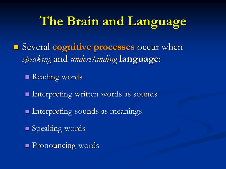 The Brain and Language: Expression and Reception Broca's Area: Broca's Area: Controls language expression Controls language expression Directs muscle movements involved in speech Directs muscle movements involved in speech Left frontal lobe Left frontal lobe Wernicke's Area: Wernicke's Area: Controls language reception/comprehension Controls language reception/comprehension Left temporal lobe Left temporal lobe