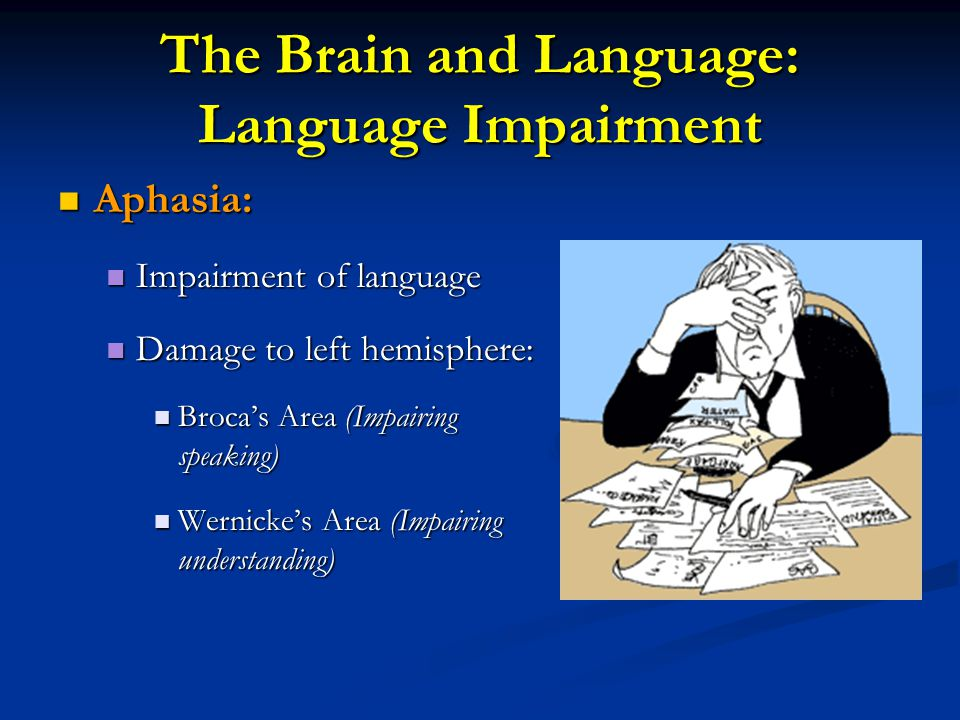 The Brain and Language: Language Impairment How does this psychological cartoon illustrate Aphasia?