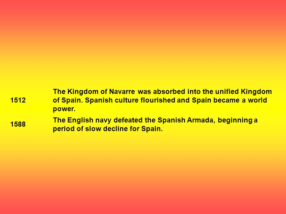 1512 The Kingdom of Navarre was absorbed into the unified Kingdom of Spain.