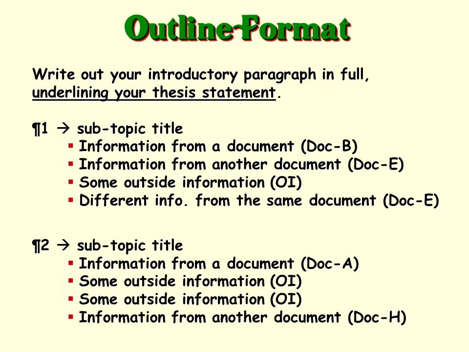 Create a rough draft in outline form using this format: Skip a line from your intro.