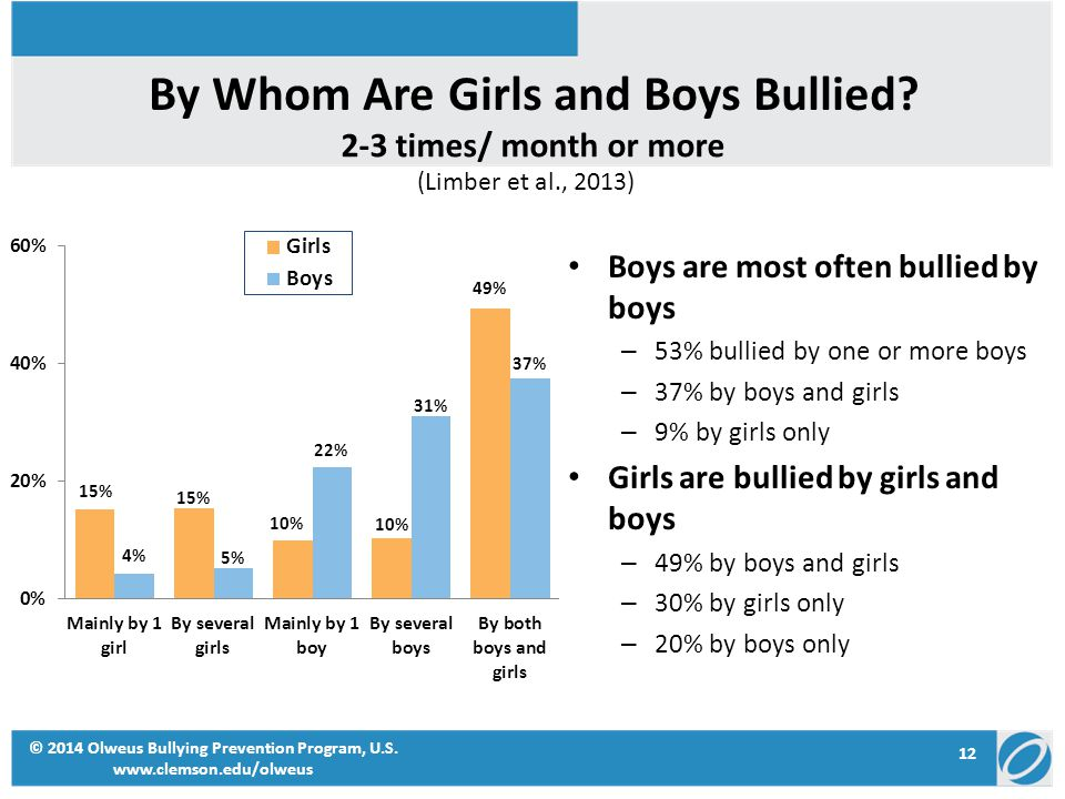 By Whom Are Girls and Boys Bullied? Boys are most often bullied by boys – 53% bullied by one or more boys – 37% by boys and girls – 9% by girls only G