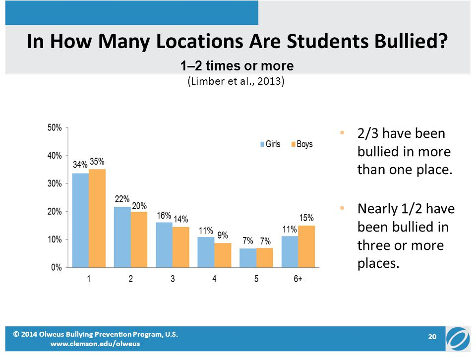 In How Many Locations Are Students Bullied? 2/3 have been bullied in more than one place. Nearly 1/2 have been bullied in three or more places. 1–2 ti