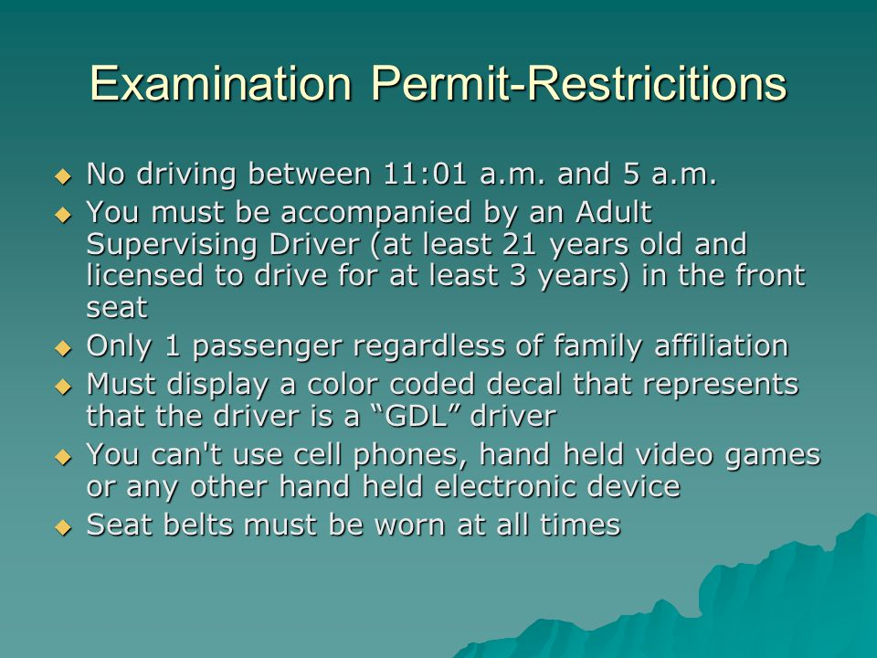 Probationary License  Complete the supervised driving period (Examination Permit)  Pass MVC s road test road testroad test  No driving between 11:01 a.m.