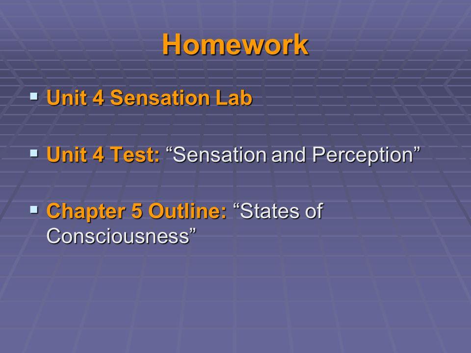 "Homework  Unit 4 Sensation Lab  Unit 4 Test: ""Sensation and Perception""  Chapter 5 Outline: ""States of Consciousness"""