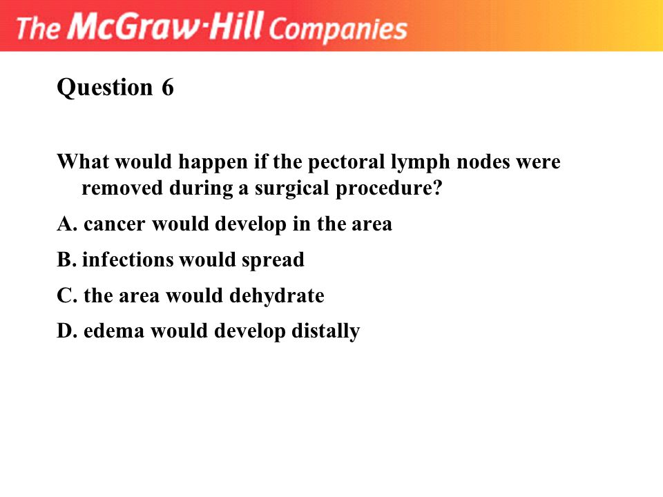 Question 6 What would happen if the pectoral lymph nodes were removed during a surgical procedure? A. cancer would develop in the area B. infections w