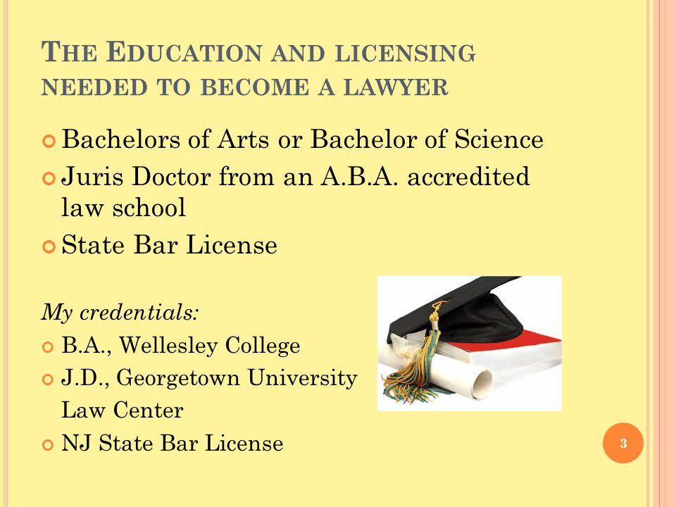 T HE E DUCATION AND LICENSING NEEDED TO BECOME A LAWYER Bachelors of Arts or Bachelor of Science Juris Doctor from an A.B.A.