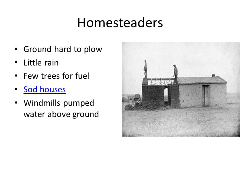 Homesteaders Ground hard to plow Little rain Few trees for fuel Sod houses Sod houses Windmills pumped water above ground