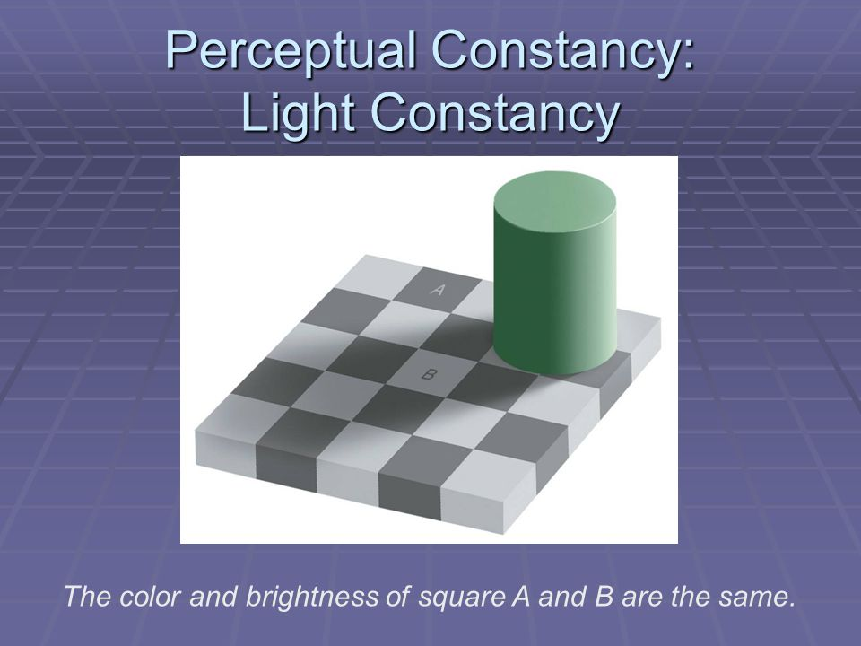 Perceptual Constancy: Light Constancy The color and brightness of square A and B are the same.