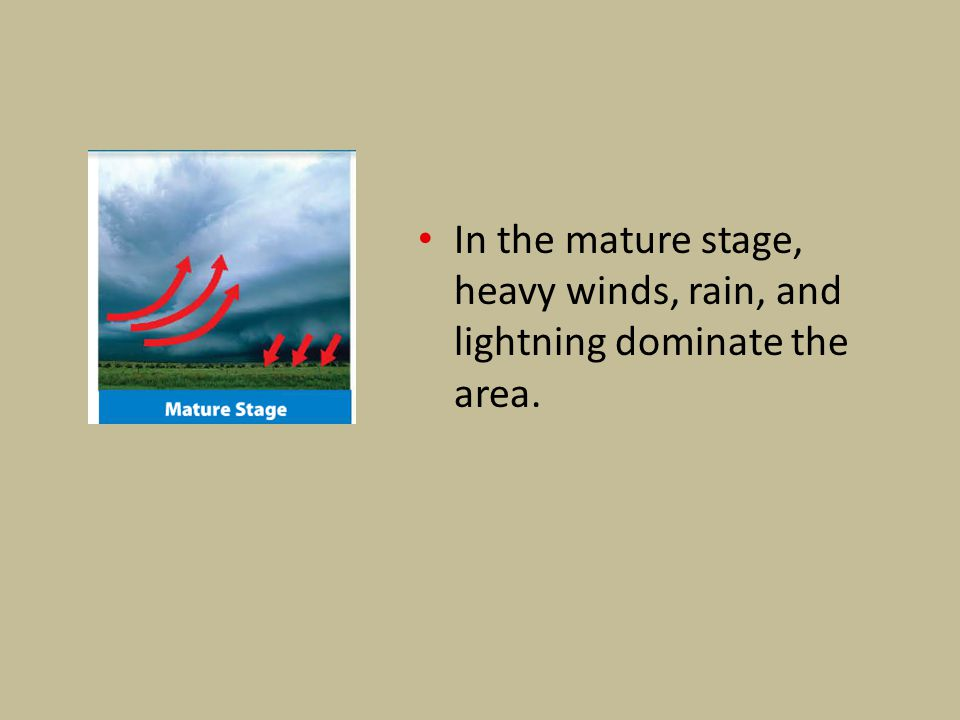 In the mature stage, heavy winds, rain, and lightning dominate the area.