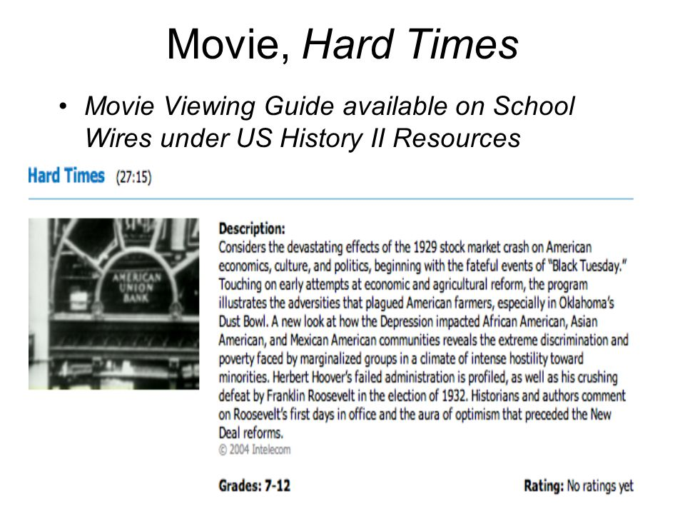 Movie, Hard Times Movie Viewing Guide available on School Wires under US History II Resources