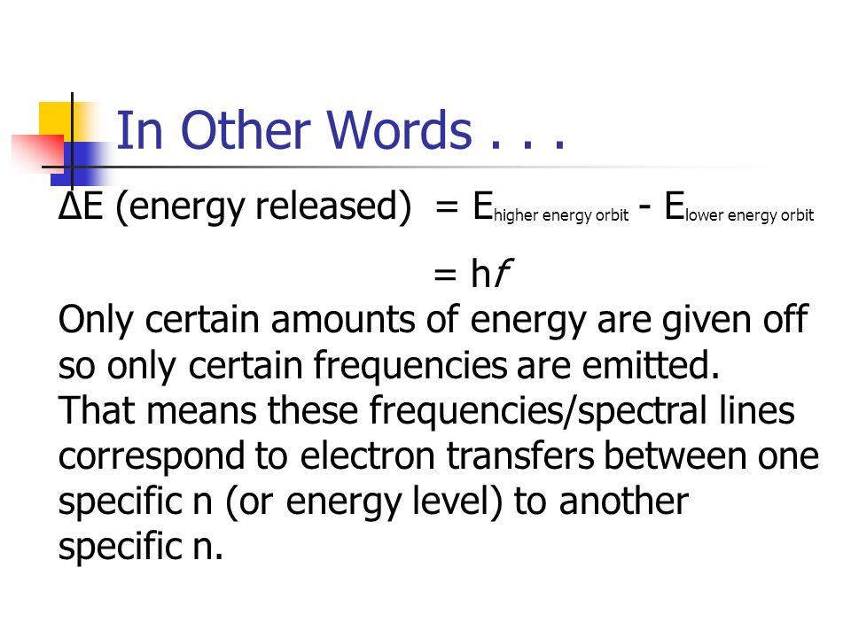 ΔE (energy released) = E higher energy orbit - E lower energy orbit = hf Only certain amounts of energy are given off so only certain frequencies are emitted.
