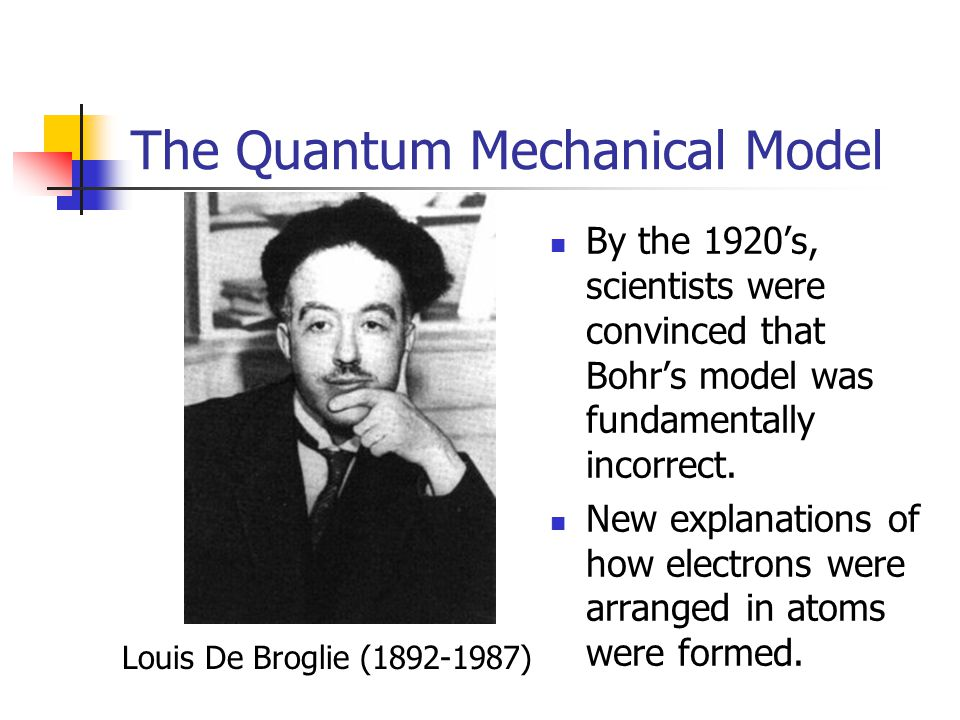 The Quantum Mechanical Model By the 1920's, scientists were convinced that Bohr's model was fundamentally incorrect.