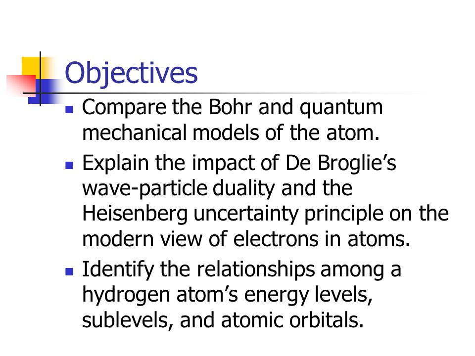 Objectives Compare the Bohr and quantum mechanical models of the atom.