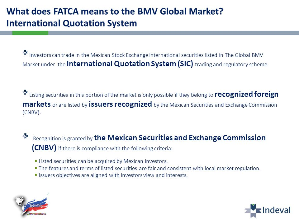 What does FATCA means to the BMV Global Market.