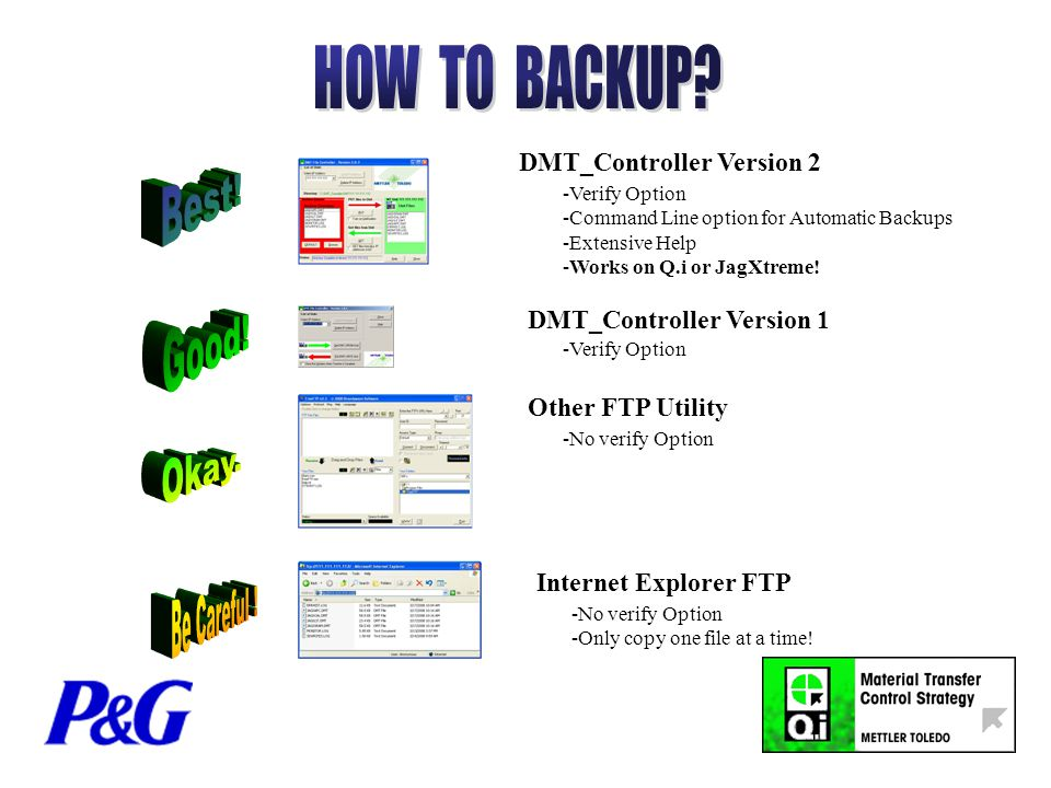 DMT_Controller Version 2 DMT_Controller Version 1 Other FTP Utility Internet Explorer FTP -Verify Option -Command Line option for Automatic Backups -Extensive Help -Works on Q.i or JagXtreme.
