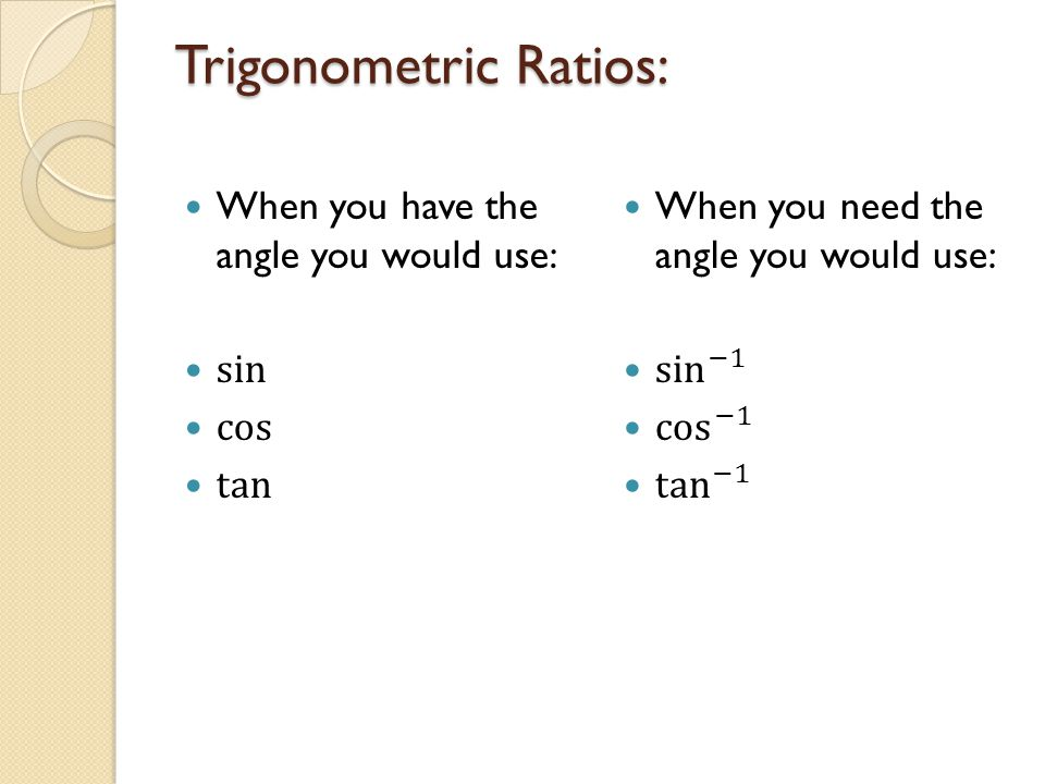 Trigonometric Ratios: