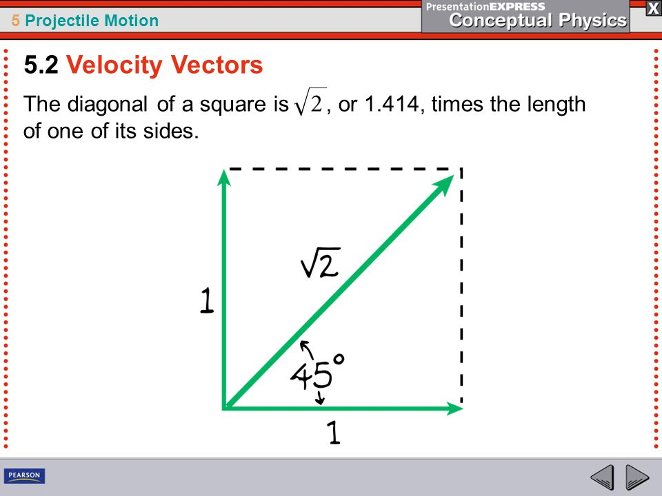5 Projectile Motion The diagonal of a square is, or 1.414, times the length of one of its sides. 5.2 Velocity Vectors