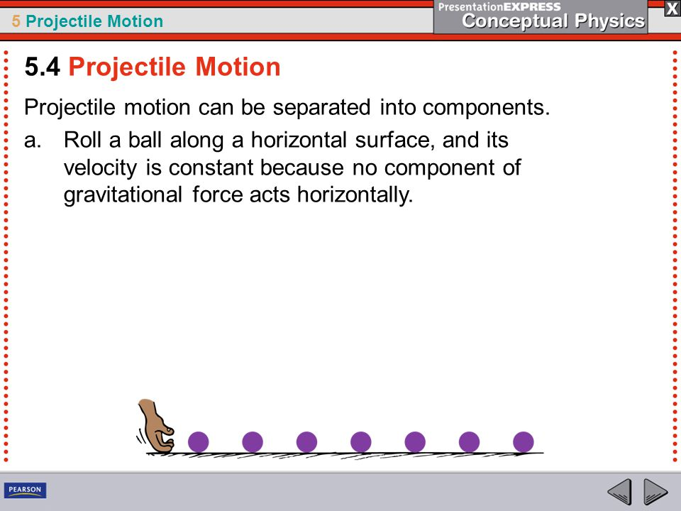 5 Projectile Motion Projectile motion can be separated into components. a.Roll a ball along a horizontal surface, and its velocity is constant because