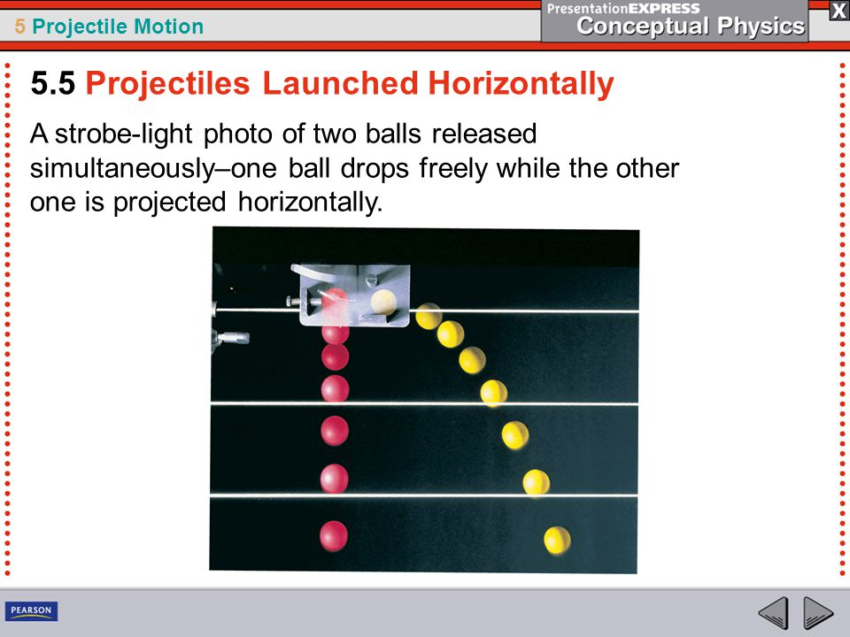 5 Projectile Motion A strobe-light photo of two balls released simultaneously–one ball drops freely while the other one is projected horizontally. 5.5