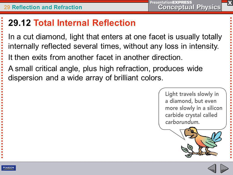 29 Reflection and Refraction In a cut diamond, light that enters at one facet is usually totally internally reflected several times, without any loss in intensity.