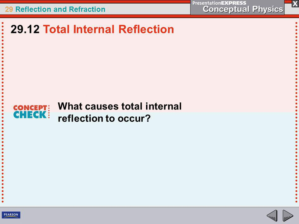 29 Reflection and Refraction What causes total internal reflection to occur.