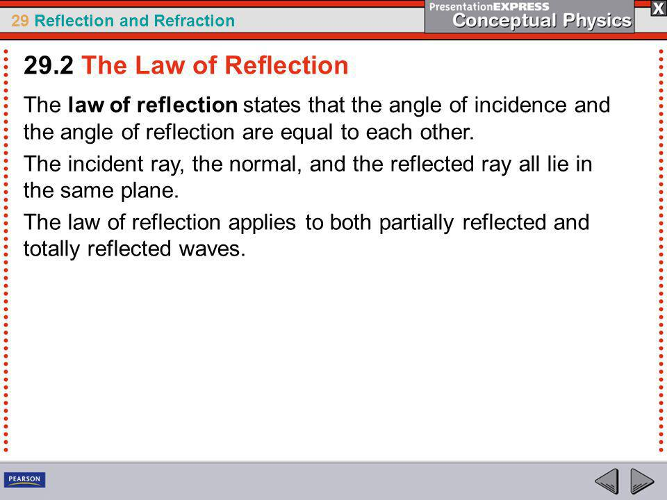 29 Reflection and Refraction The law of reflection states that the angle of incidence and the angle of reflection are equal to each other.