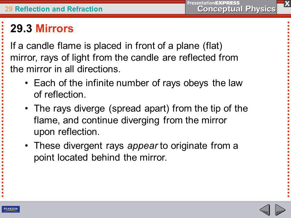 29 Reflection and Refraction If a candle flame is placed in front of a plane (flat) mirror, rays of light from the candle are reflected from the mirror in all directions.