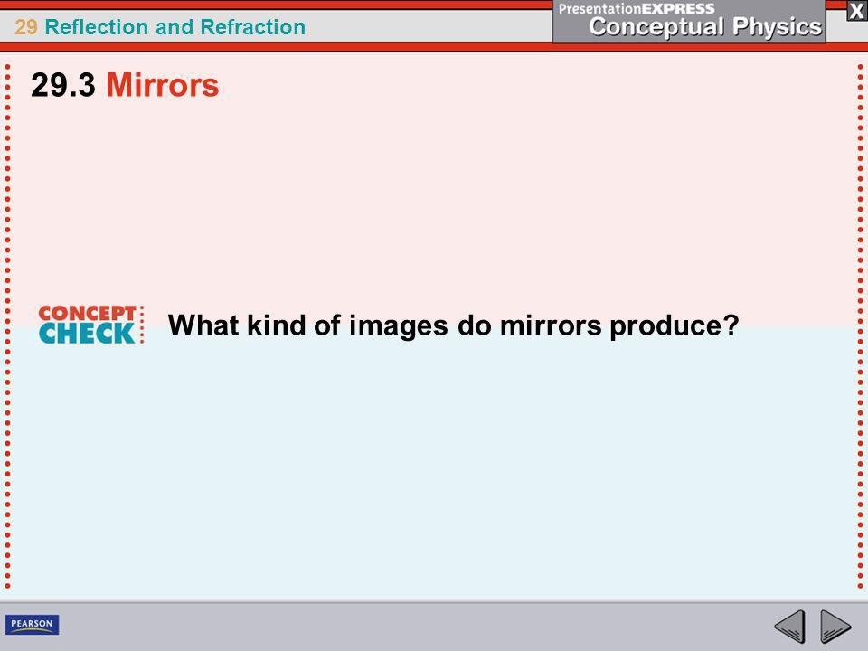 29 Reflection and Refraction What kind of images do mirrors produce? 29.3 Mirrors